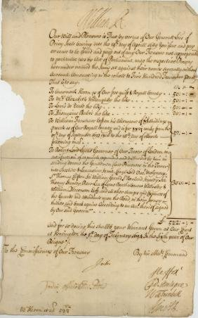 William III, King - Royal warrant signed , addressed to