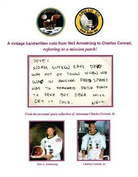 Amstrong, Neil - Autograph note signed to Apollo XII