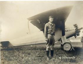 Lindbergh, Charles - Vintage, sepia toned landscape