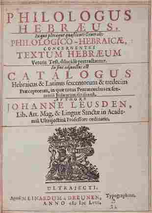 Leusden (Johanne) - Philologus Hebraeus,