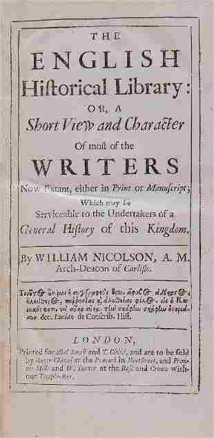 Nicolson (William) - The English Historical Library...,