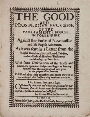 Civil War, - Yorkshire.- Fairfax The Good and