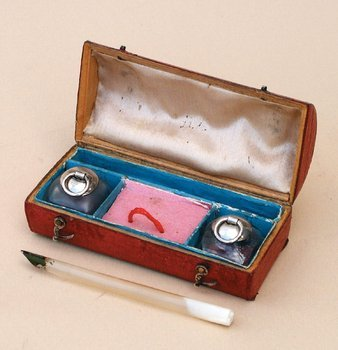 8B: RED LEATHER WRITING COMPENDIUM, circa 1800