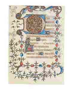 Leaf from an opulently illuminated early Book of Hours,
