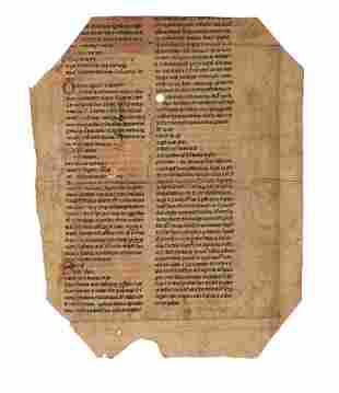 Leaf from a copy of Peter Lombard Libri Quattuor