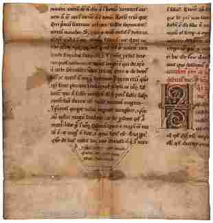 Cutting with a large decorated initial from a copy of