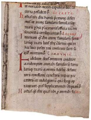 Two bifolia from a monumental Missal in Latin