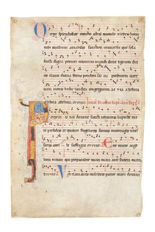 Leaf from a large and early antiphonal with