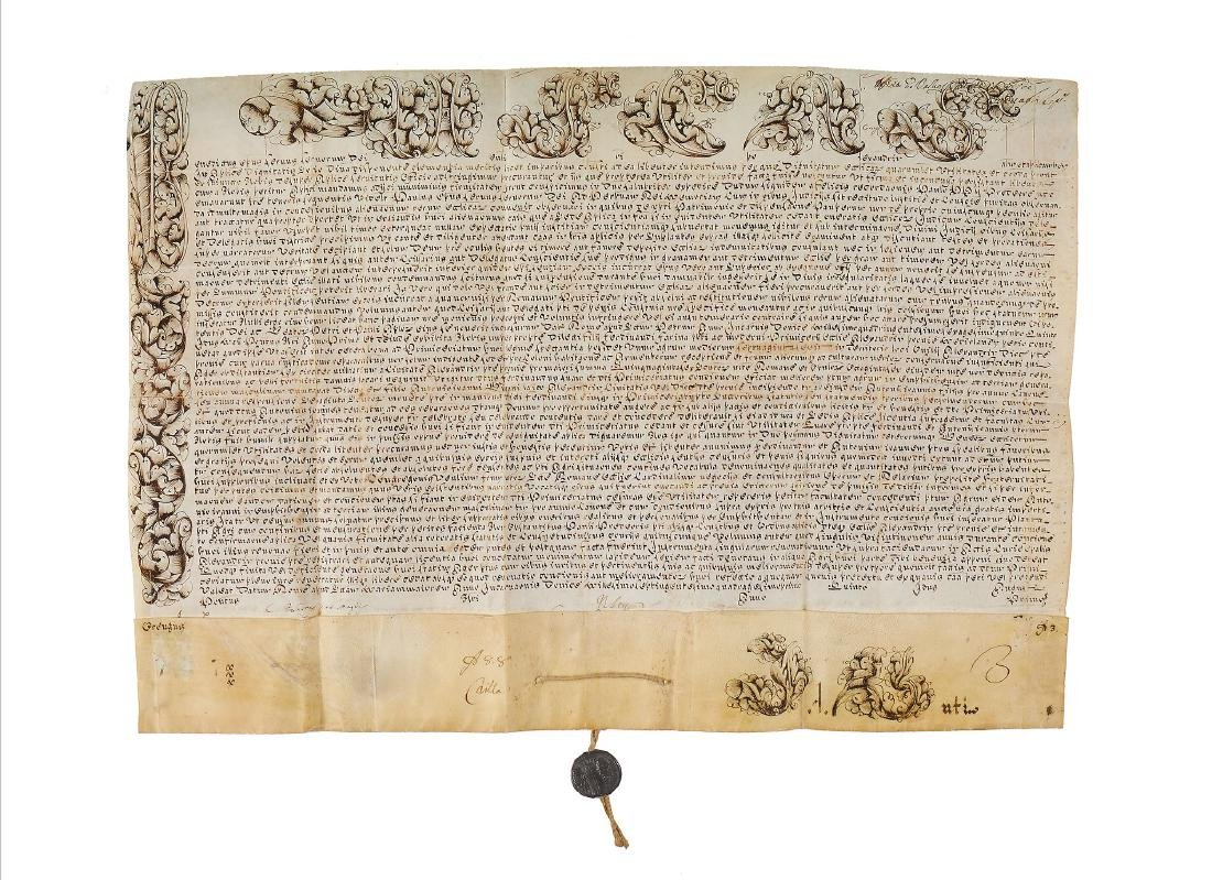 Two large ecclesiastical documents, manuscripts in