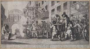 Hogarth William Burning Rumpus at Temple Barr