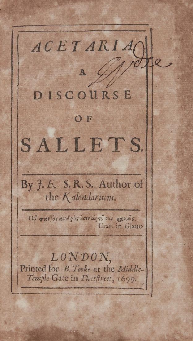 E[velyn] (J[ohn]) - Acertaria, a Discourse of Sallets,