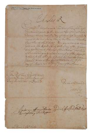 Charles II King Royal document signed addressed to