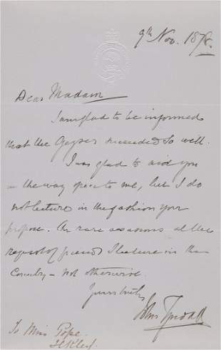Tyndall John Autograph letter signed to Miss Pope