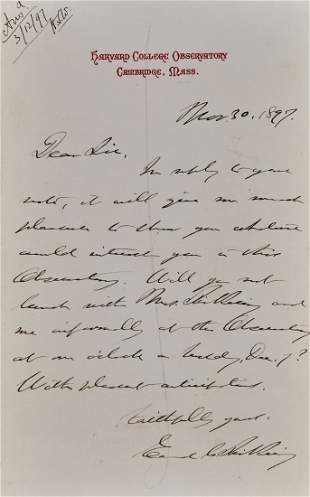Pickering Edward Charles Autograph letter signed to