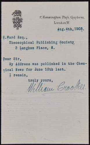 Crookes William Typed note signed to E Ward