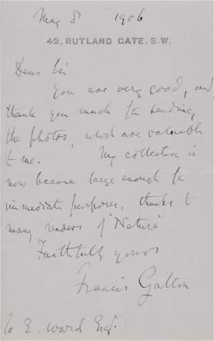 Galton Francis Autograph letter signed to E Ward