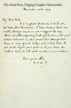 136B: Housman.Shropshire Lad,inscr.to F.L.Griggs +