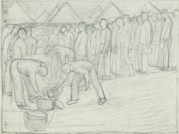 6E: Henry Lamb (1883-1960) soldiers queueing for soup