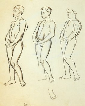 14E: Edward Burra (1905-1976) three young men (recto),