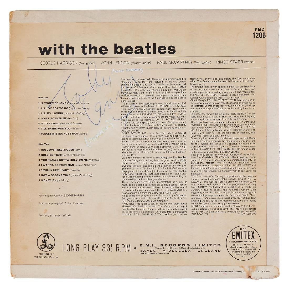 """Lennon, John - """"With The Beatles"""", Parlophone PMC 1206"""