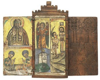 164C: Ethiopian Iconigraphic Wood Shrine