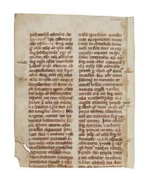 Leaf from an early copy of Jacobus da Voragine Legenda