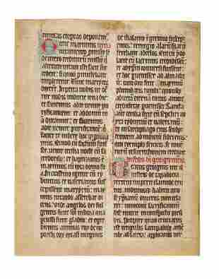 Lectionary leaf in Latin from a decorated manuscript