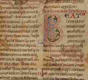 Large initial on a leaf from a Passional in Latin