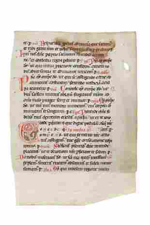 Leaf from an early Romanesque Missal in Latin