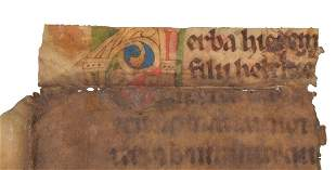 Half a leaf from a liturgical volume with remains of a