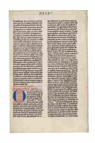 Leaf from a fine Bible in Latin decorated manuscript