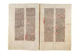 Three bifolia from a gargantuan Missal in Latin