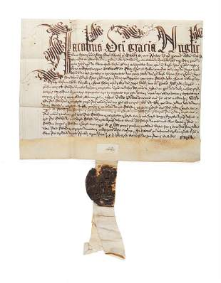 Royal charter of King James I with remains of great