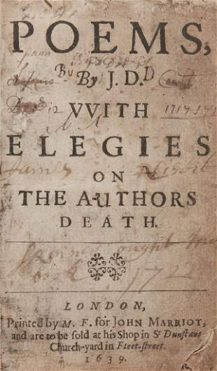 Donne John Poems With Elegies on the Authors Death