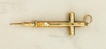 24E: SMALL MORDAN GOLD CROSS PENCIL, late C.19th