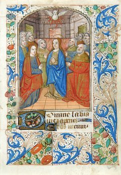 6D: Pentecost, single leaf from a Book of Hours