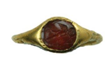 616C: Gold & Garnet Roman Ladies Intaglio Ring, 2nd cen