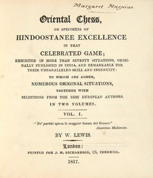 23D: Lewis (William) Oriental Chess, 1817, vol. 1