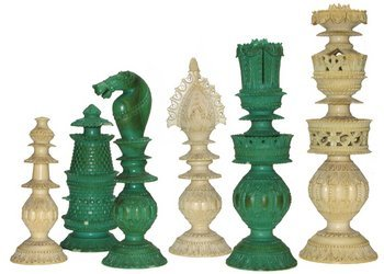 163D: AN INDIAN IVORY PART CHESS SET, c. 1800