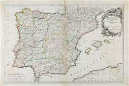 909C Janvier Jean Map of Spain and Portugal