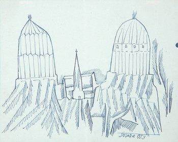3A: Francis Newton Souza (1924-2002) landscape with ch