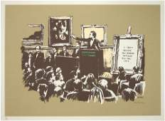 502B: Banksy (b.1975) morons (sepia)