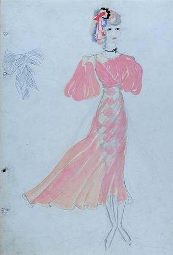 512E: Stiebel (Victor) Two watercolour dress designs