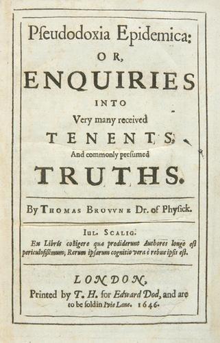 9B: Browne.Pseudodoxia Epidemica,1646