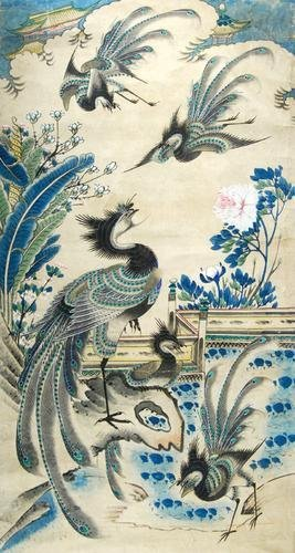 6A: Chinese School.- Peacocks gathering