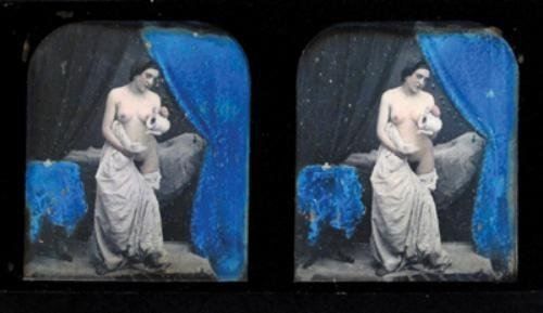 1E: Stereo Daguerreotype (Nude) untitled (draped femal