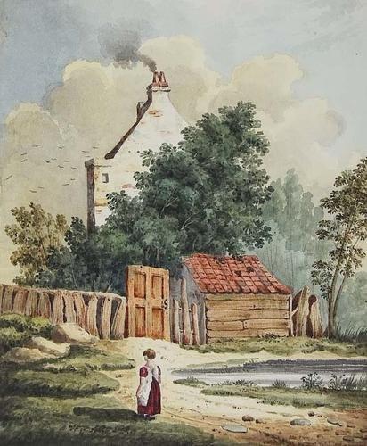 387E: Foster (Birket) Cottage scene with children