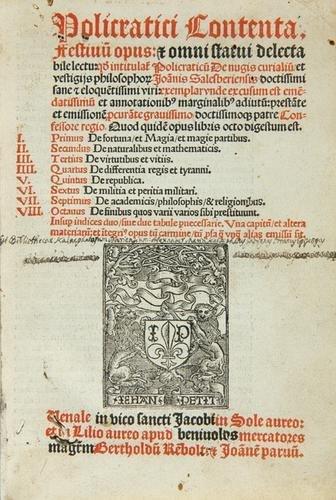 423B: John of Salisbury Policratici Contenta 1513.