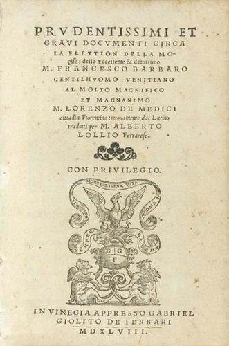 435B: Barbaro Elettion della Moglie 1548