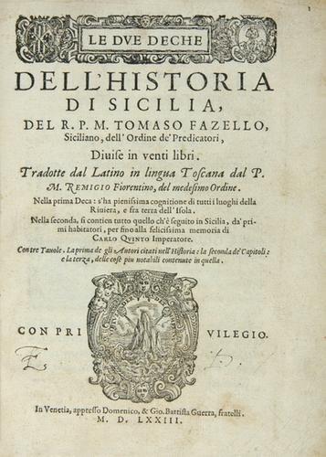438B: Fazelli Dell' Historia di Sicilia, 1573
